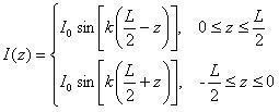 current along halfwave dipole versus length