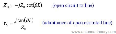 input impedance of an open circuited line